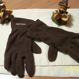 COLUMBIA BROWN FLEECE GLOVES W LEATHER PALM SM